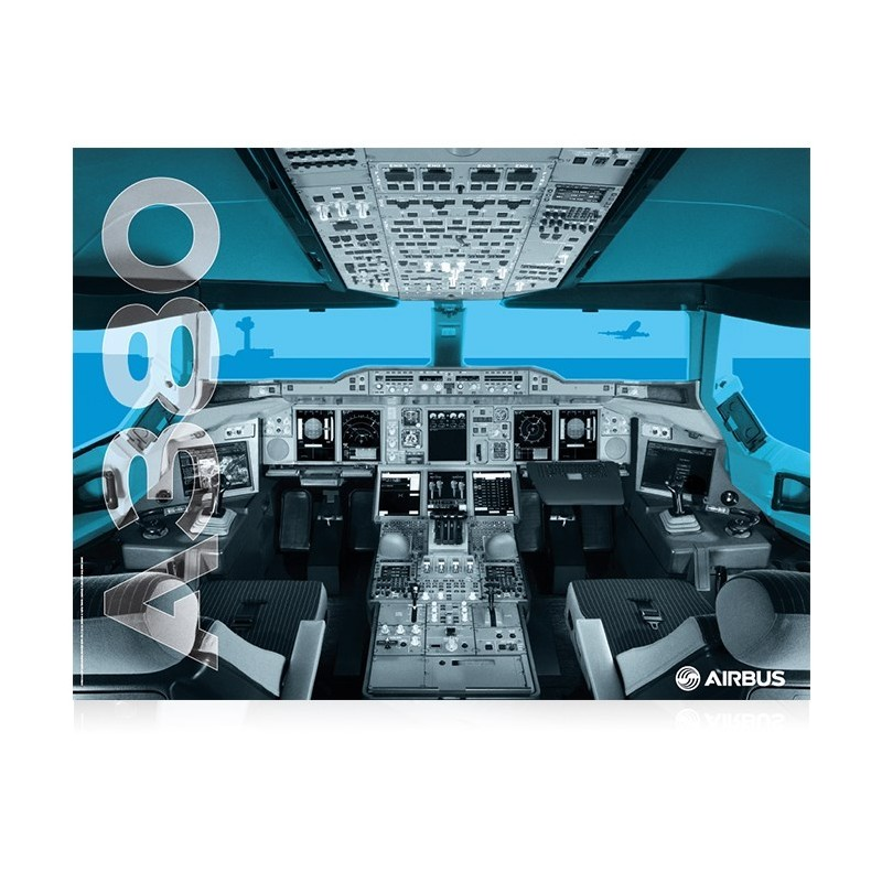 Airbus A380 cockpit poster with logo