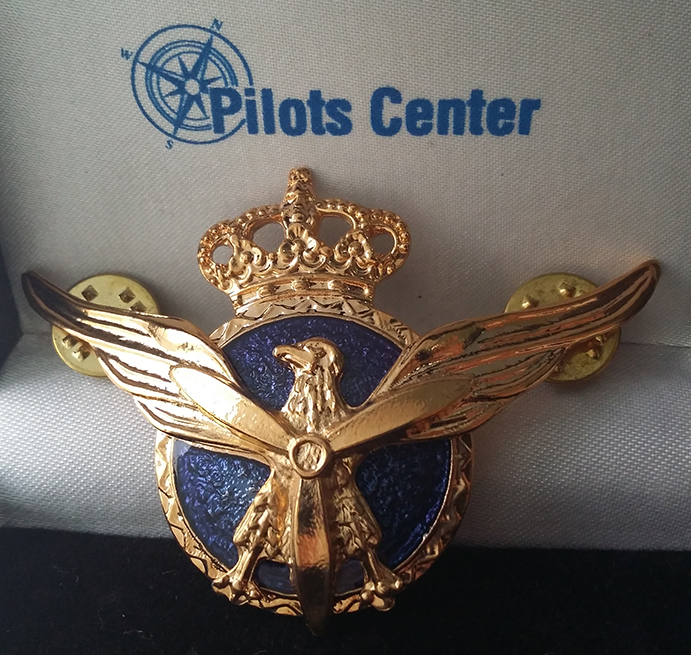 Spanish commercial pilot badge w/butterfly fasteners