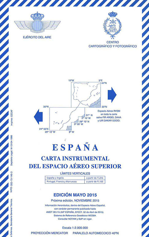 Spain IFR chart. High altitude. 1:2.000.000