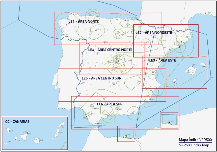 ICAO Spain VFR500 Aeronautical Charts - 2018