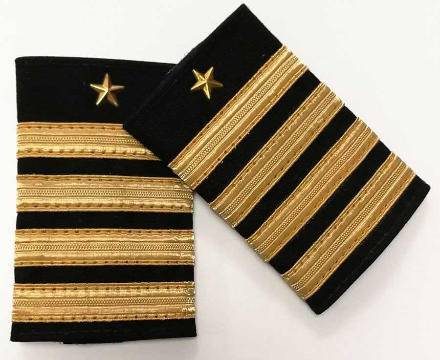 Galones de Piloto - 4 barras doradas + estrella